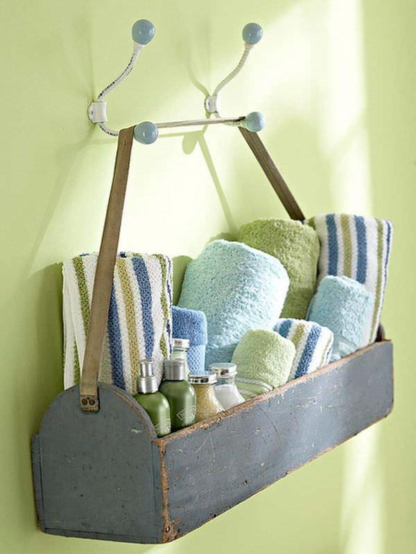 Tool box towel storage