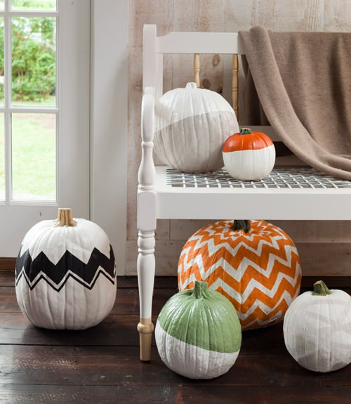 Patterned no carve pumpkins