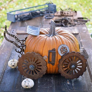 Junk pumpkin decorating