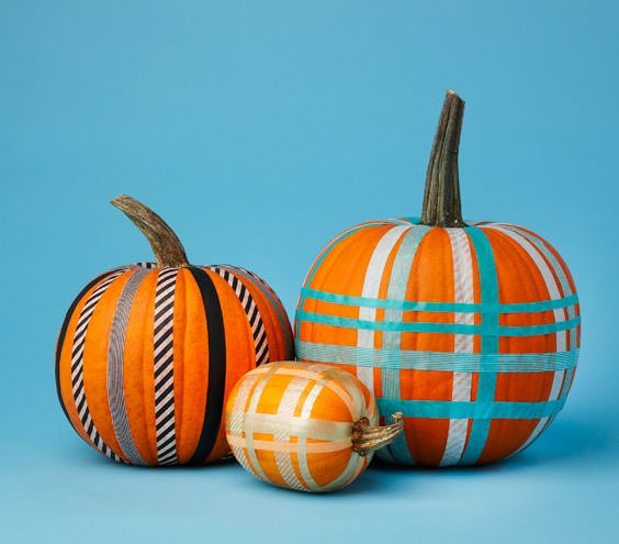 Tape pumpkin decorating