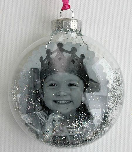 Photo glitter ornament