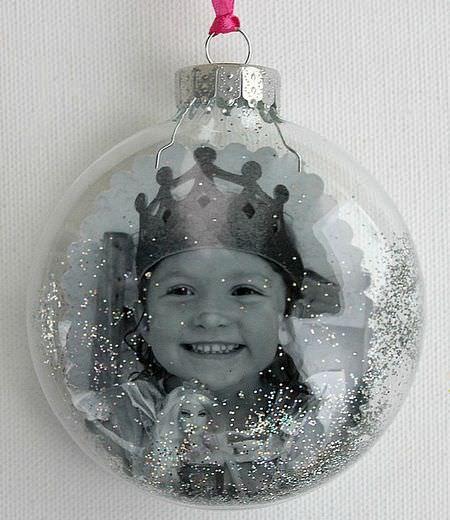 Photo glitter ornament