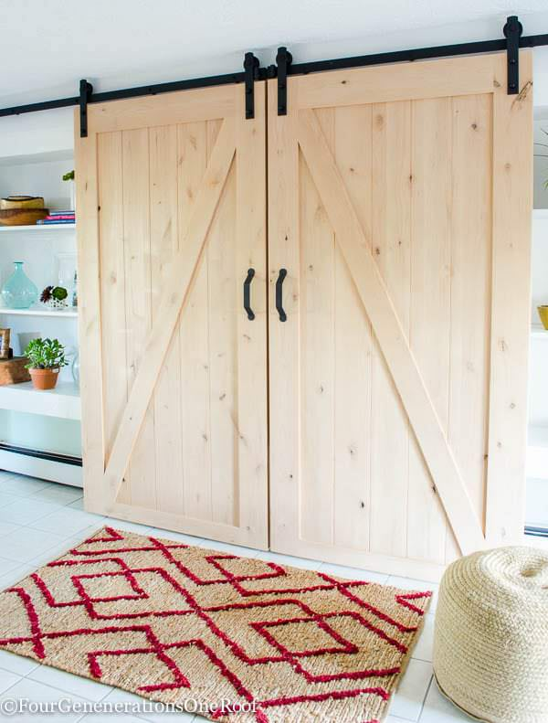 brian built barn doors. \u0027Four Generations, One Roof\u0027 Shares Their Tutorial On How To Make DIY Sliding Barn Doors. This Is A Perfect Way Cover Wall Mounted Flat Screen! Brian Built Doors