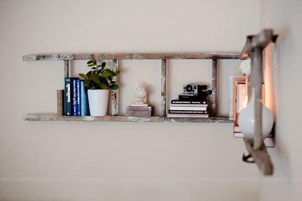 DIY ladder booshelf