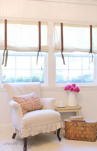 DIY drop cloth blinds
