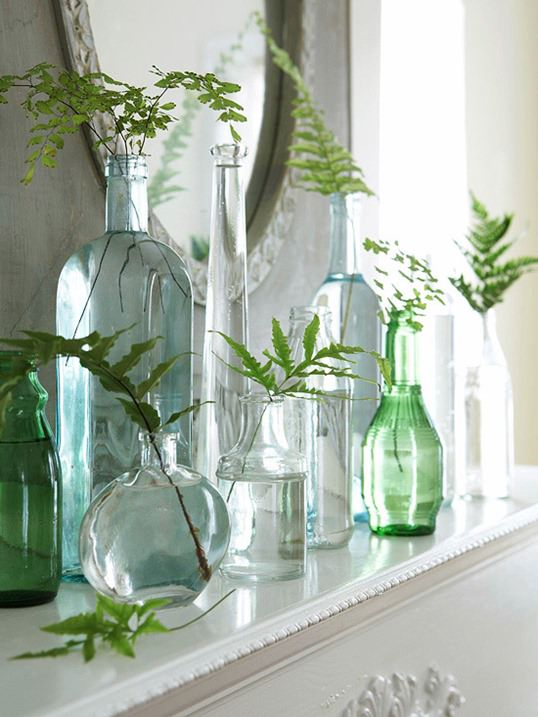 blue-glass-bottles-on-mantel