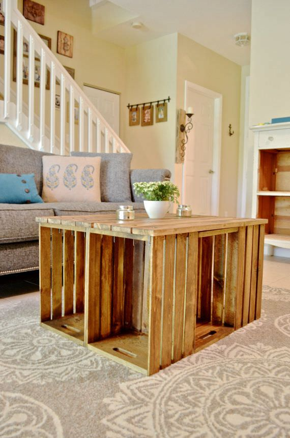 Diy wine crate storage projects decorating your small space for Vintage wine crate coffee table