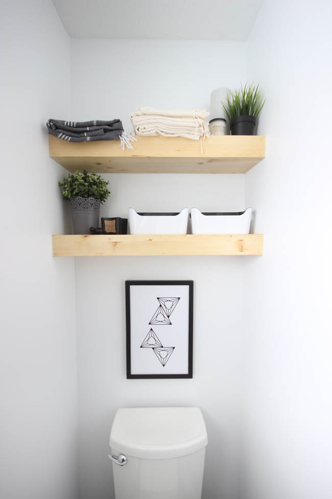 if you want a diy floating shelf project that is also a towel rack youve found it from anikas diy life this ladder wall shelf adds charm to this - How To Make Floating Shelves