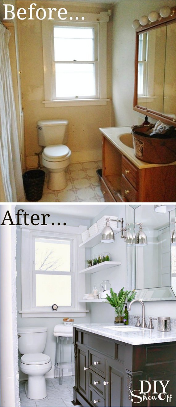 Tiny bath makeovers decorating your small space for Before and after small bathroom makeovers