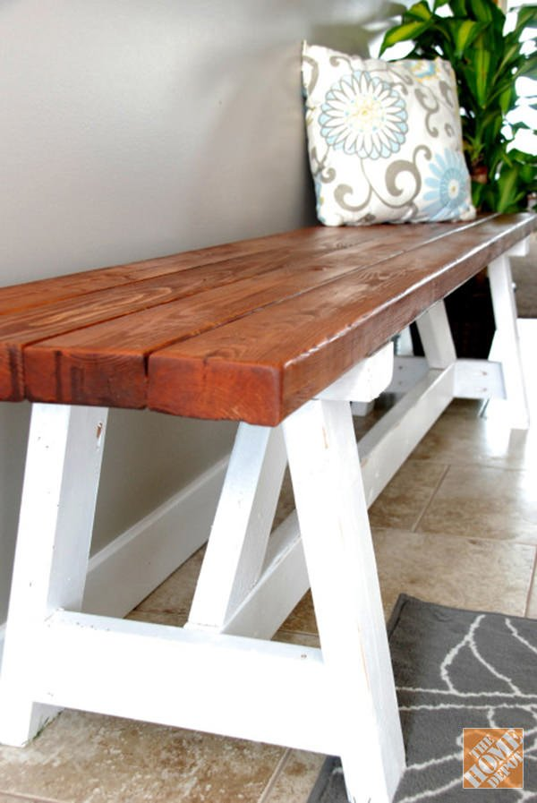 15 diy entryway bench projects decorating your small space for Farm table plans drawings