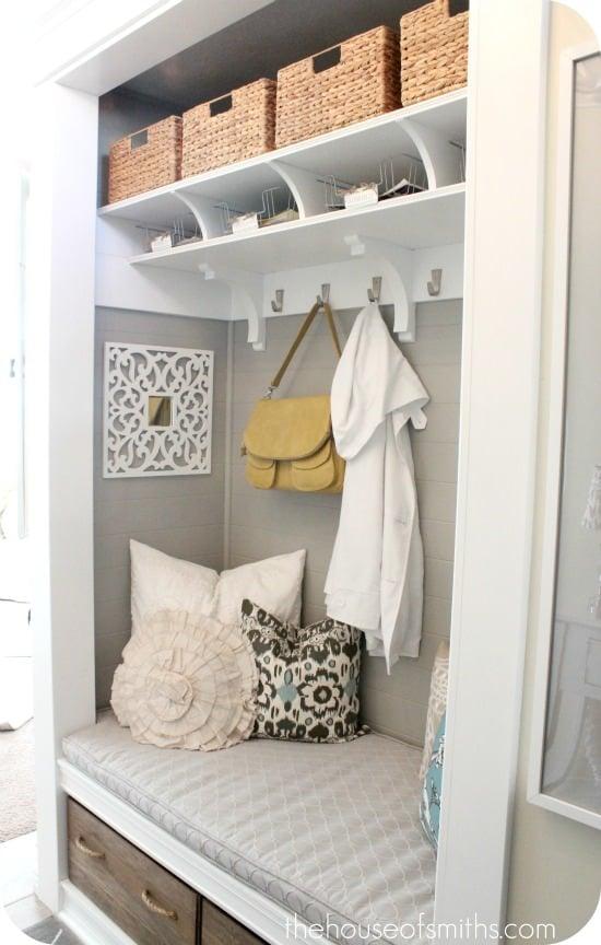 Closet made into Mudroom - thehouseofsmiths.com