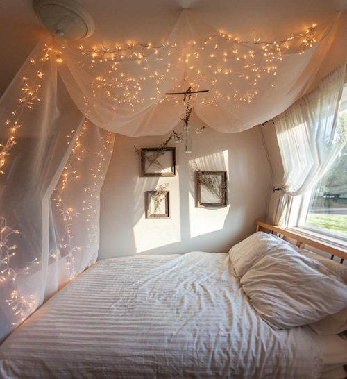 From  Annaleena s Hem   this idea involves bringing in a large branch  and  simply wrapping it with lights  then leaning it in a corner. Starry Starry String Lights   Year Round Home Decor    Decorating