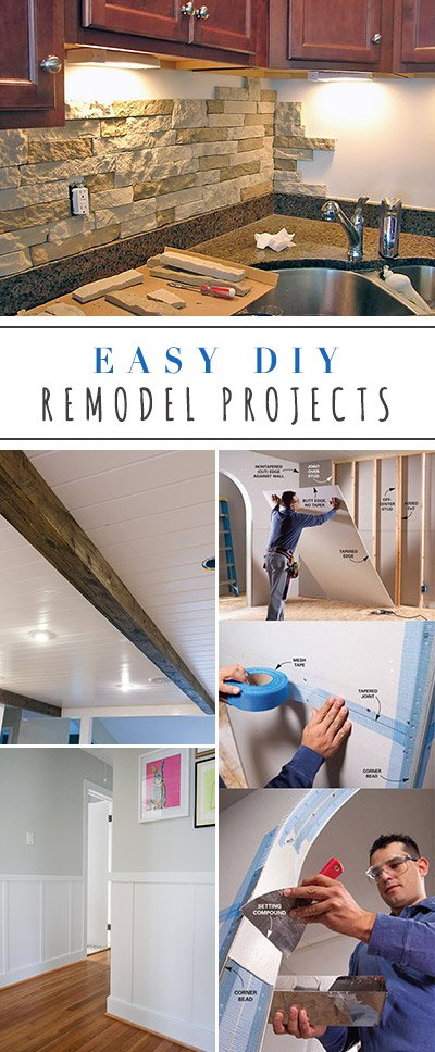 Easy DIY Remodel Projects - tall pin for Pinterest