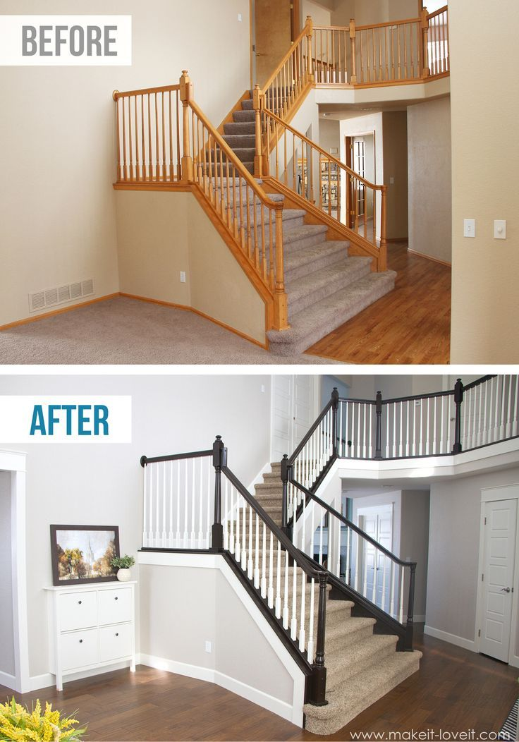 Diy stair railing projects makeovers decorating your Before and after interior design projects