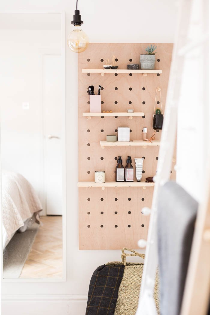 She Made These Pegboard Storage Shelves Just Perfect For Standing In As A  Vanity! And, She Shares With Us The Instructions. BTW, It Has Hidden Mirror  ...