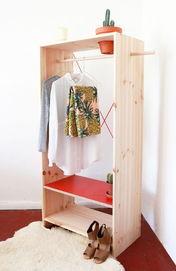 wonderful wardrobe clothing rack diy projects decorating your small space. Black Bedroom Furniture Sets. Home Design Ideas
