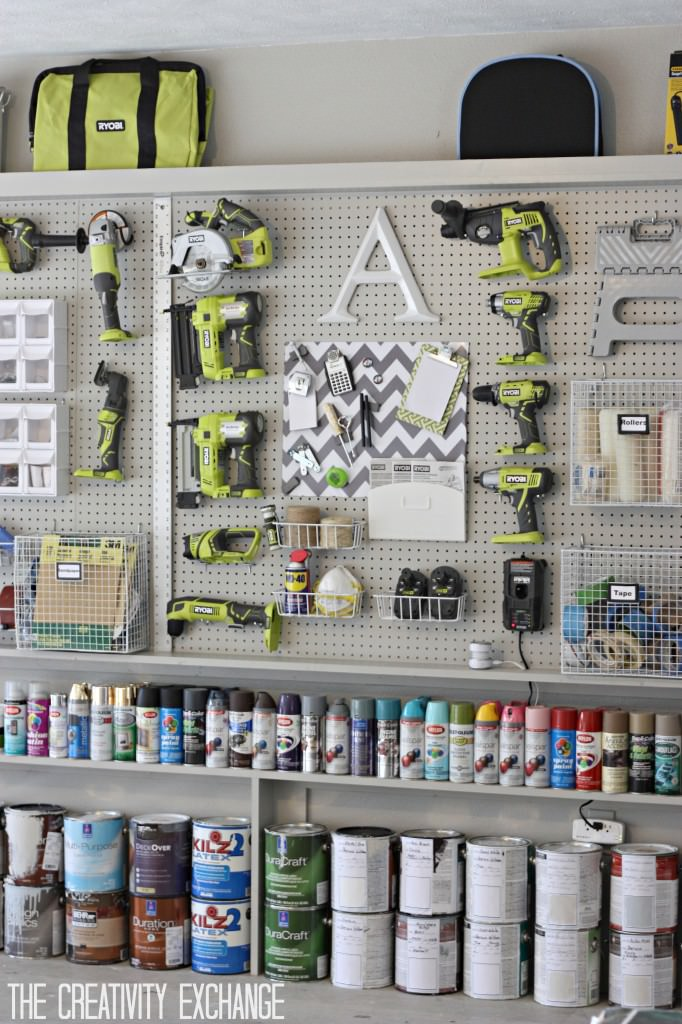 Diy garage storage ideas projects decorating your small space another take on garage pegboard storage is these modular metal pegboard panels used by evan katelyn this is the kind of diy garage organizing that is solutioingenieria Images