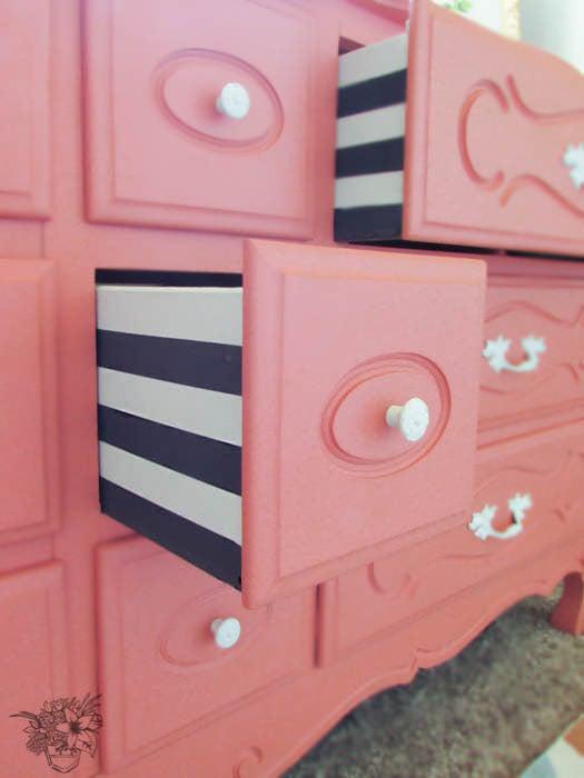 DIY Dresser Makeovers - Striped Drawers