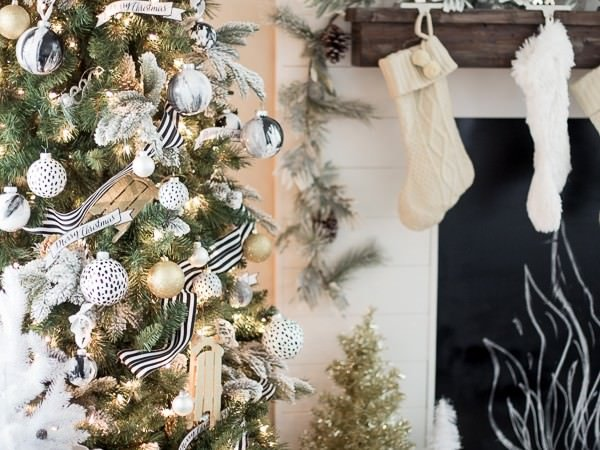 Black And White Polka Dot Christmas Ornaments