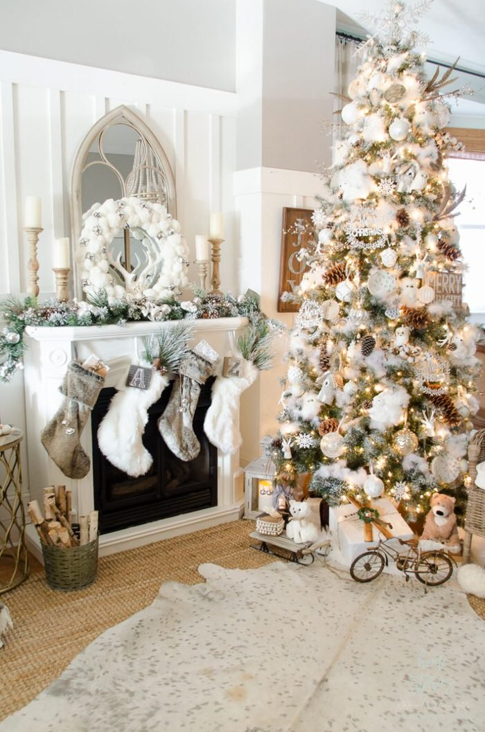 red white christmas tree theme - White Christmas Decorating Theme
