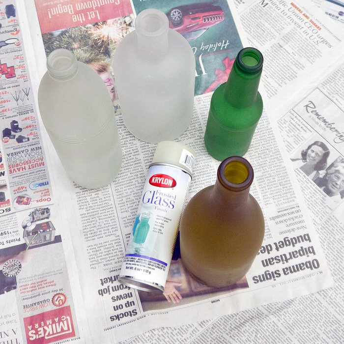 Frosted Glass Spray Paint Ideas Part - 29: U0027Popsugaru0027 Turned Old, Recycled Bottles Into Pretty Vases With Frosted  Glass Spray.