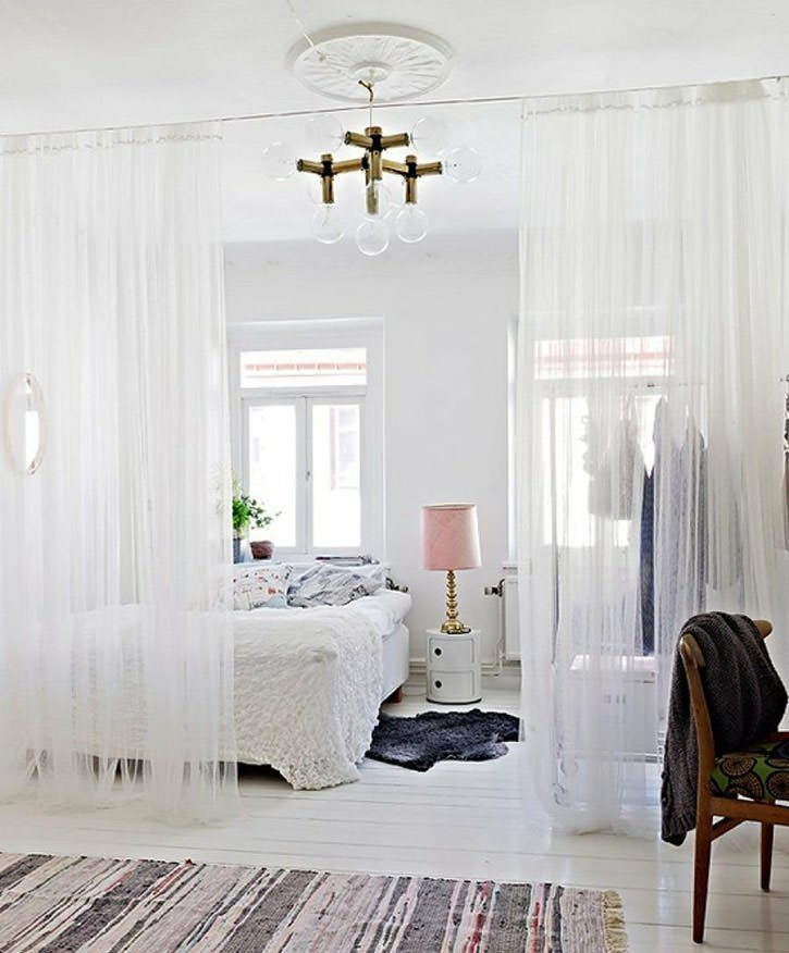 Sheer Curtain Room Divider Idea